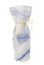 Kreatelier Bottle Gift Bag Blue Leaves