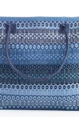 Dash & Albert Gypsy Stripe Denim Navy Woven Cotton Tote Bag