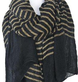 Paisley Road Knit Stripe Scarf Black Camel