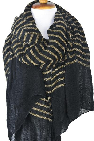 Paisley Road Knit Stripe Scarf Black Camel
