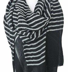 Paisley Road Knit Stripe Scarf Black White