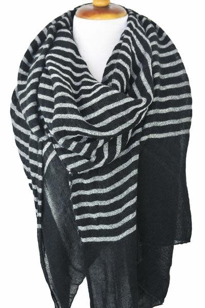 Paisley Road Knit Stripe Scarf Black White