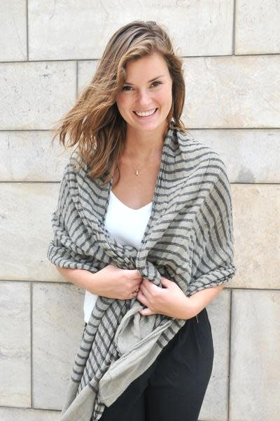 Paisley Road Knit Stripe Scarf Taupe Black