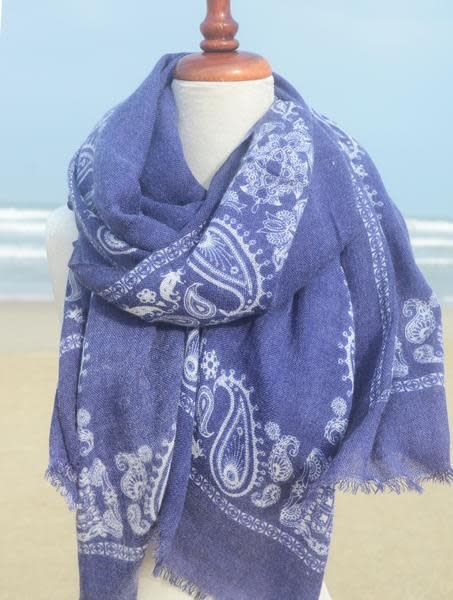 Paisley Road Bandana Border Blue