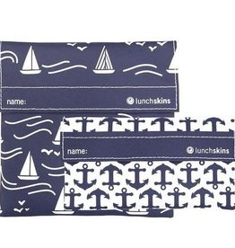 3greenmoms 2-Pack Reusable Bag Set Navy Boat (Velcro)
