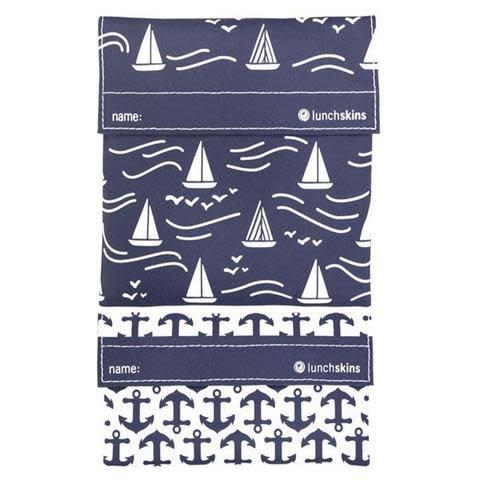 3greenmoms 2-Pack Reusable Bag Set Navy Boat (Velcro)