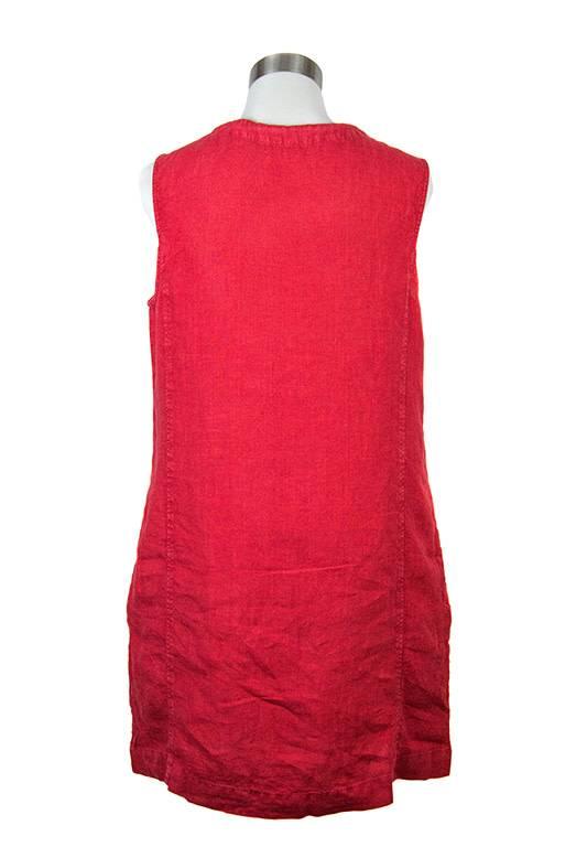 Side Stitch Split Neck A Line Dress Scarlet Red