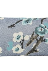 Kreatelier Rectangular Pillow 11'x21' Blue Floral