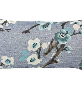 Kreatelier Rectangular Pillow 11'x21' Blue Floral