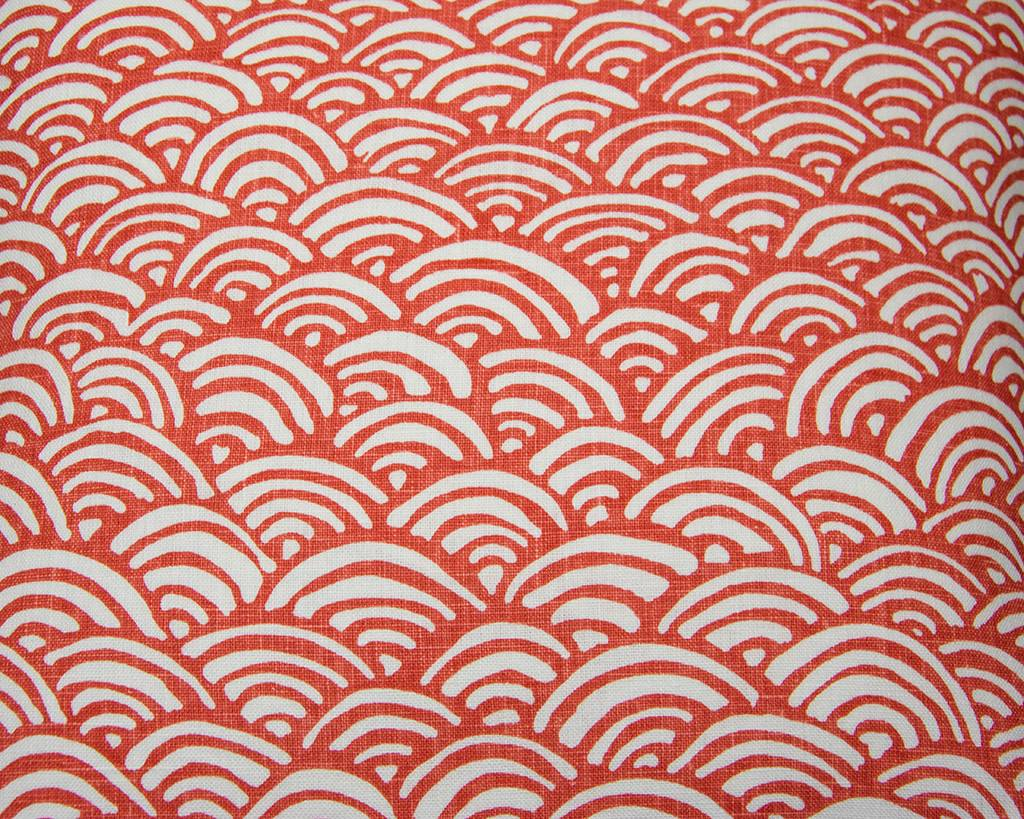 Kreatelier Abstract Wave Pillow in Coral - 18 x 18in
