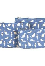Rockflowerpaper Cosmetic Bag Set 3 Cats Blue