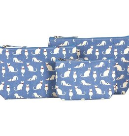 Rockflowerpaper Cosmetic Bag Set 3 Cats Blue