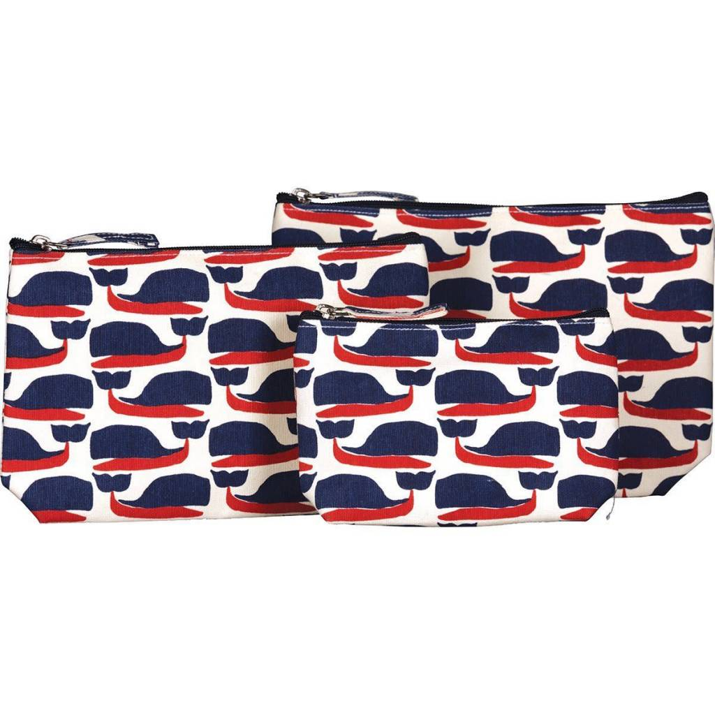 Rockflowerpaper Cosmetic Bag Set 3 Cape Cod Whales