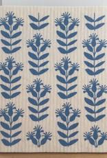 Three Bluebirds Swedish Dishcloth Blue Buds