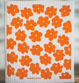 Three Bluebirds Swedish Dishcloth California Poppies