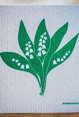 Three Bluebirds Swedish Dishcloth in Grey Lily of the Valley