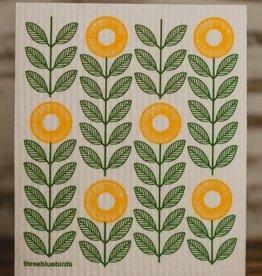 Three Bluebirds Swedish Dishcloth Sunflowers