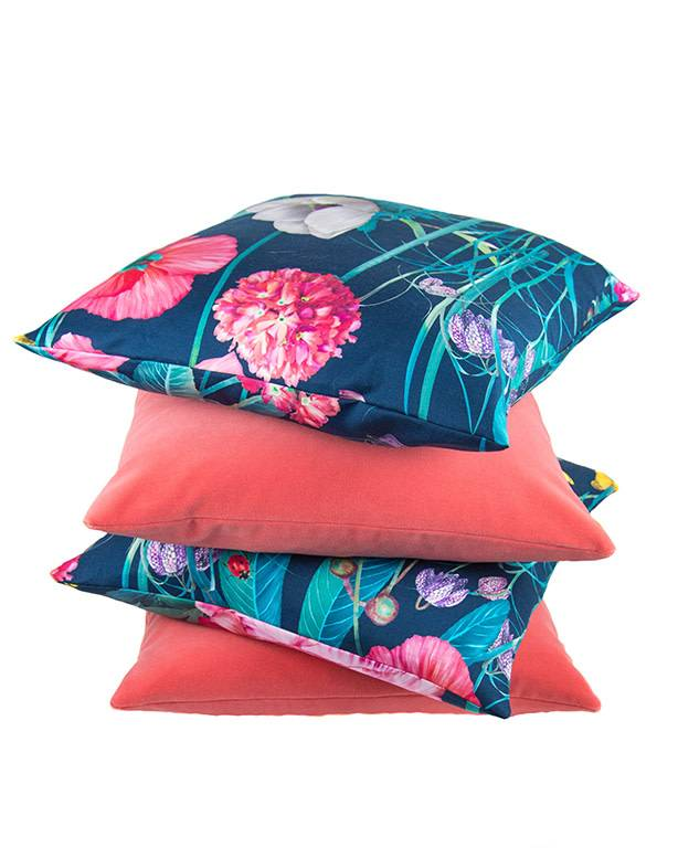 Kreatelier Meadow at Midnight Pillow - 18 x 18in Red Flower
