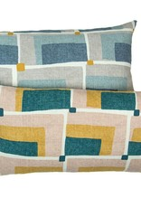 Kreatelier Geometric Pillow in Blue and Grey - 11 x 21in