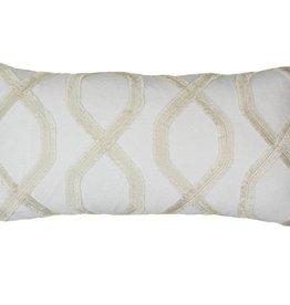 Kreatelier Fringe Pillow in Cream - 11 x 21in