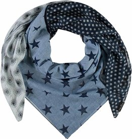 Fraas Retro Patchwork Scarf Navy