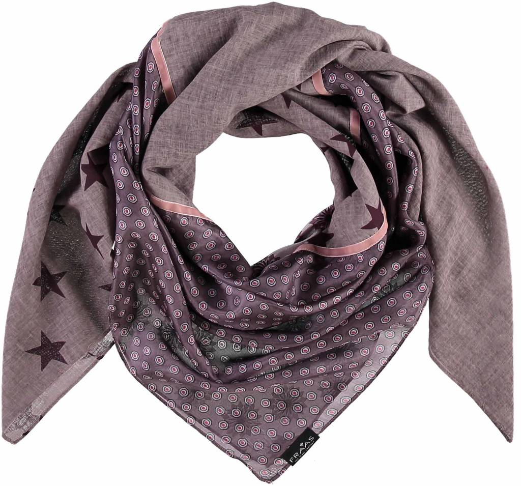 Fraas Retro Patchwork Scarf Taupe
