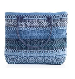 Dash & Albert Gypsy Stripe Denim Navy Woven Cotton Tote Bag