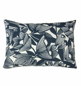 Kreatelier Botanical Pillow in White and Navy - 15 x 22in