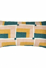 Kreatelier Geometric Pillow in Green and Blush - 11 x 21in