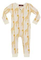 Milkbarn Organic Zipper Pajama Yellow Giraffe