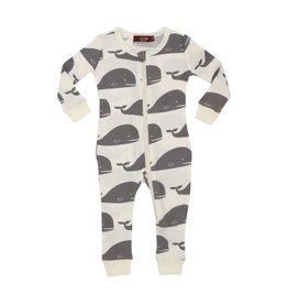 Milkbarn Organic Zipper Pajama Grey Whale