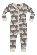 Milkbarn Organic Zipper Pajama Grey Hedgehog