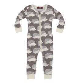 Milkbarn Organic Zipper Pajama Grey Hedgehog