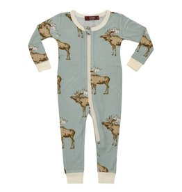 Milkbarn Bamboo Zipper Pajama Blue Moose