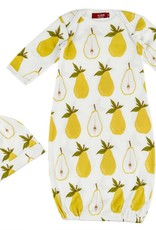 Milkbarn Gown and Hat Set Pear  0-3M