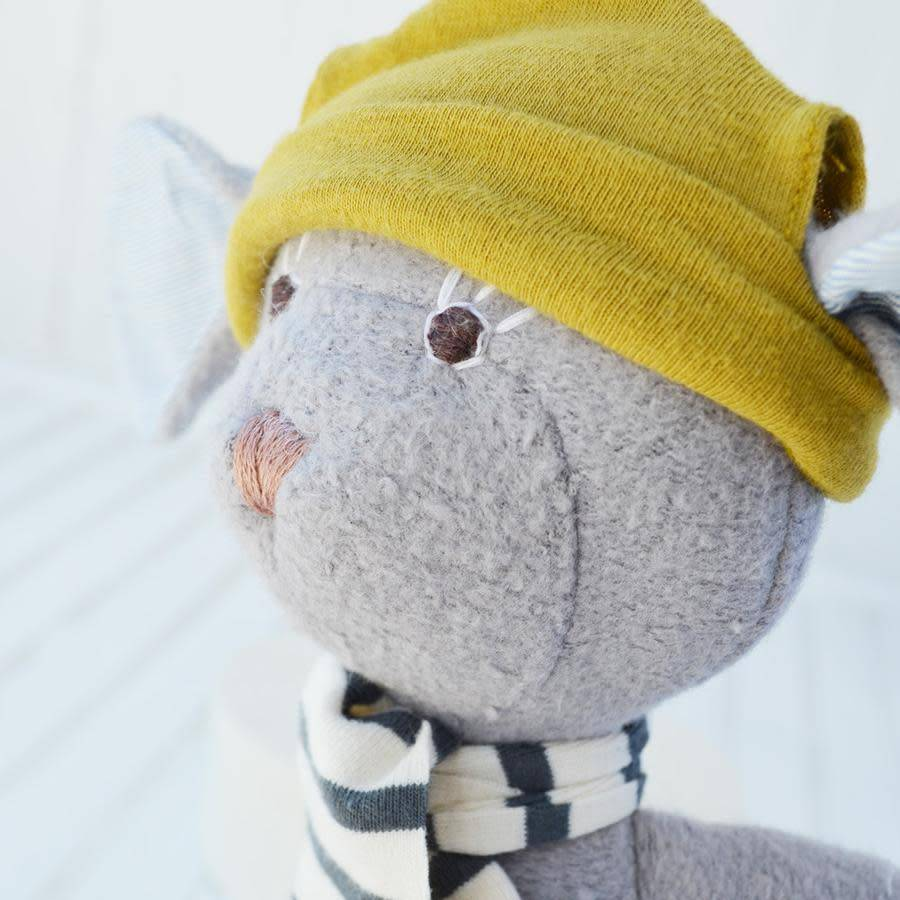 Hazel Village Stuffed Animal Oliver Mouse in Green Hat and Scarf
