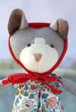 Hazel Village Stuffed Animal Gracie Cat in Tea Party Dress and Bonnet