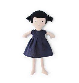 Hazel Village Doll Nell in Navy Linen Dress