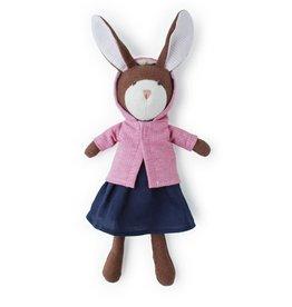 Hazel Village Stuffed Animal Zoe Rabbit in Pink Jacket and Navy Linen Dress