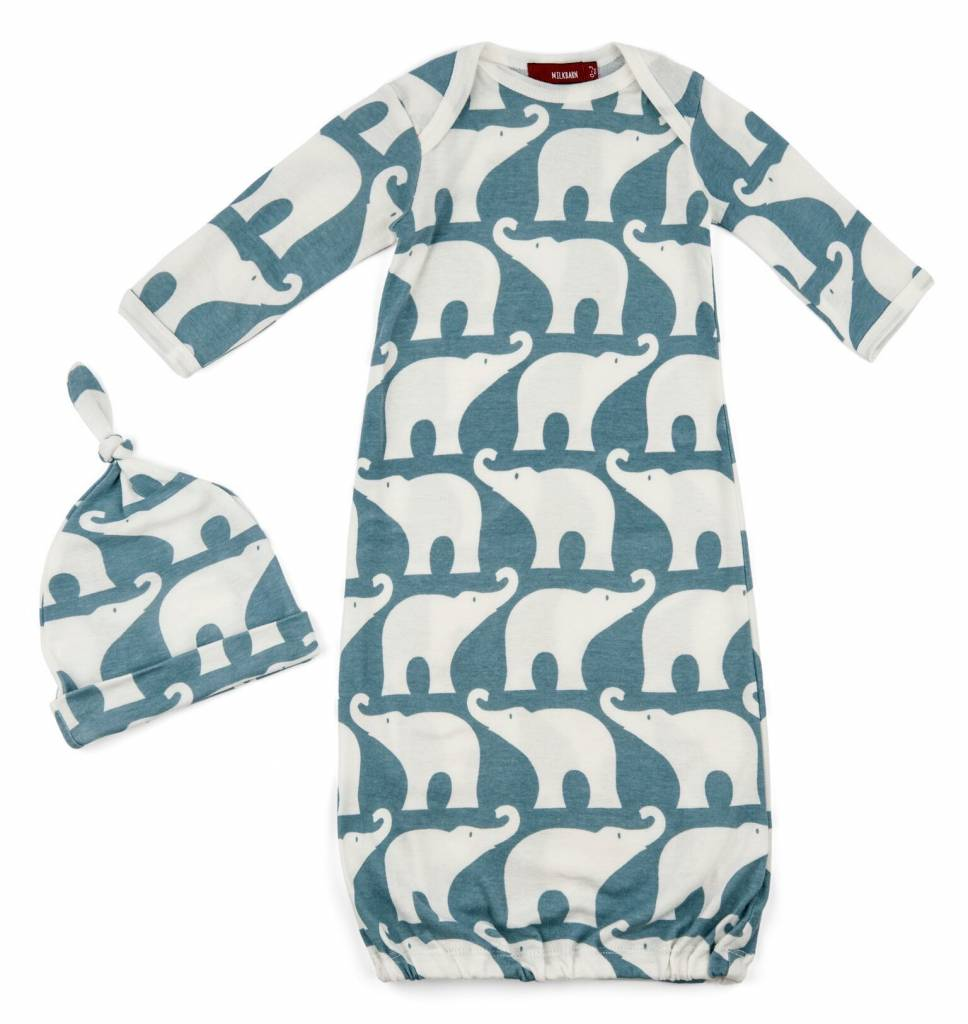 Milkbarn Gown and Hat Set Blue Elephant