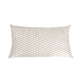 Kreatelier Small Block Print Pillow in grey - 11 x 21in