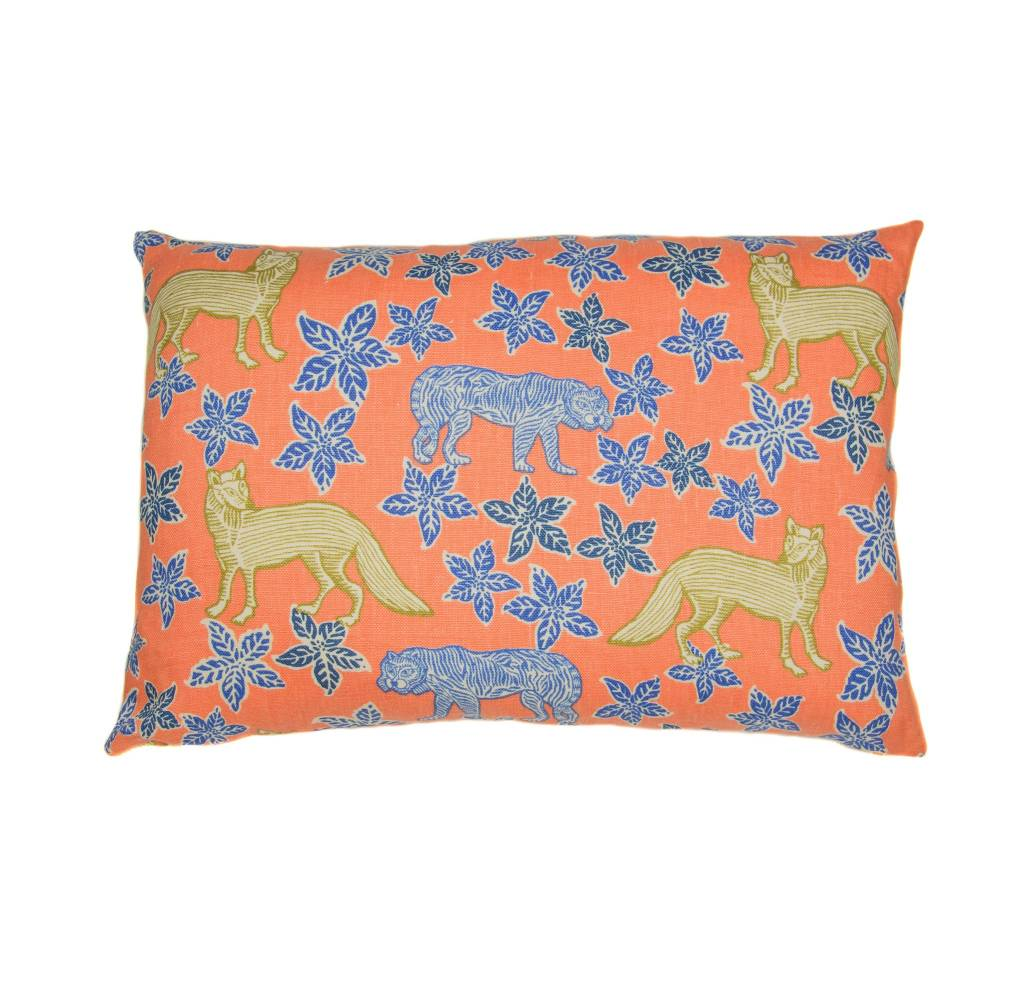 Kreatelier Flowers and Animals Pillow in Coral - 15 x 22in