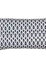 Kreatelier Ikat Teardrop Pillow in Blue - 21 x 11in