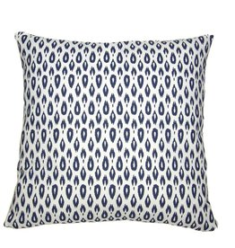 Kreatelier Ikat Teardrop Pillow in Blue - 18 x 18in