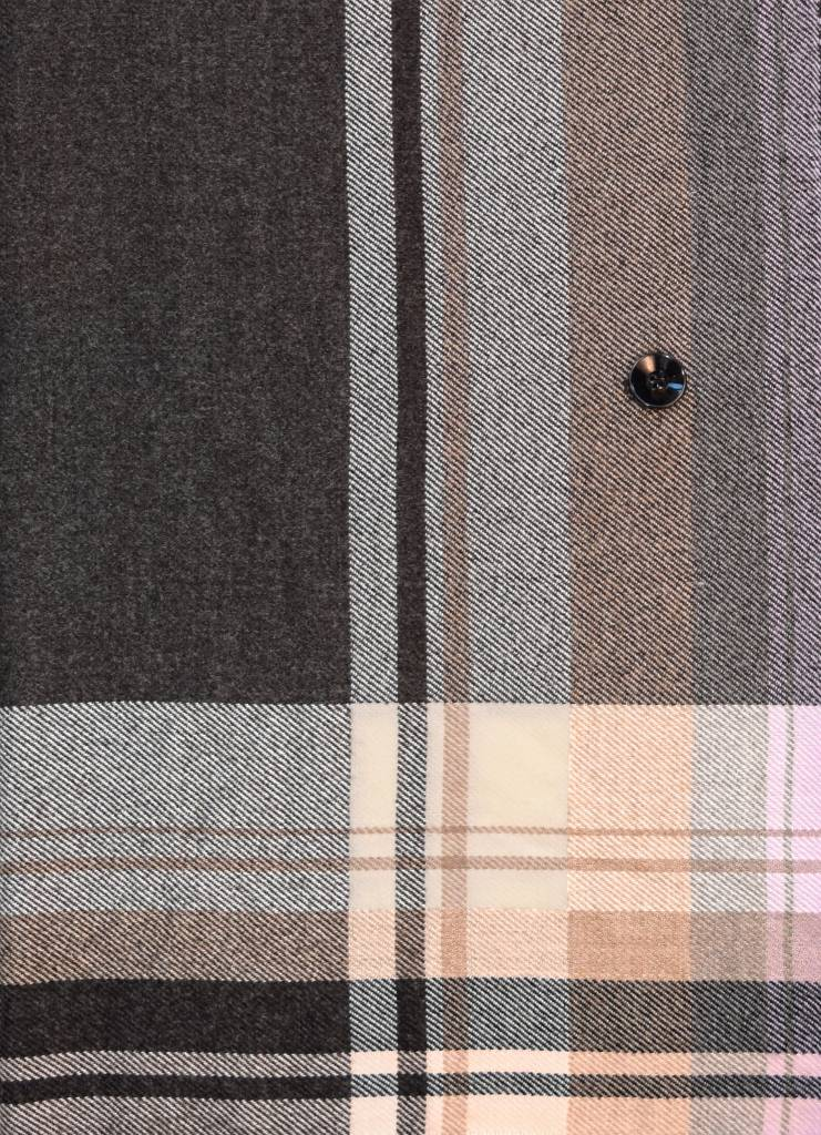 Fraas Border Stripe Collar Poncho Charcoal