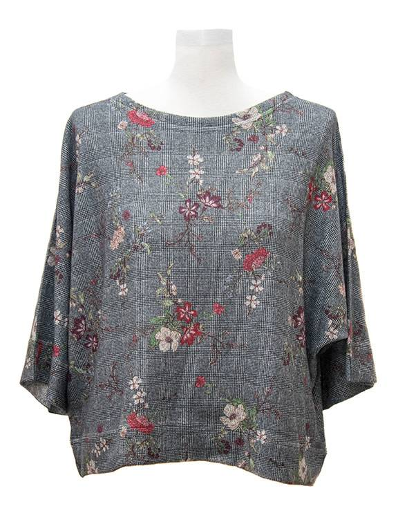 Nally and Millie Plaid Floral Dolman Top