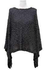 Nally and Millie Brush Texture Poncho Top Black