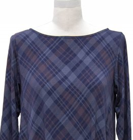 Nally and Millie Plaid High Low Back Pleat Dress Navy