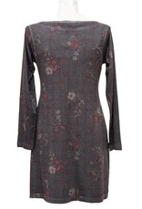 Nally and Millie Houndstooth Floral Dress Dark Grey