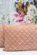 Kreatelier Woven Geometric Pillow in Orange - 15 x 22in
